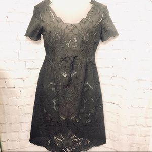 VIVIENNE TAM BLACK SHEER EMBROIDERED MINI DRESS